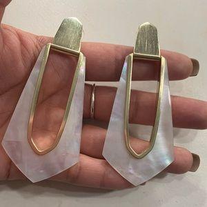 Kendra Scott earrings in mother of pearl.